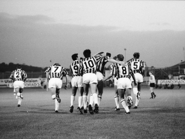 The Vitesse Arnhem players celebrate Huub Loeffens 18 minute goal during the first leg of their UEFA Cup first round clash at Brandywell Stadium
