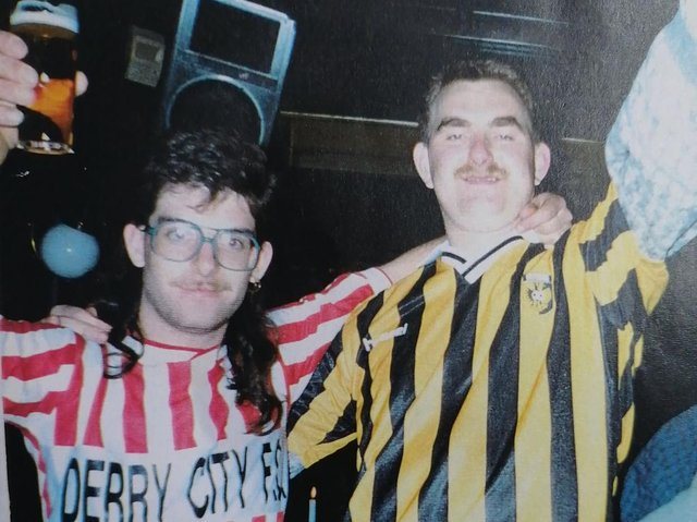 Derry City supporter, Cyril Hargan gets friendly with a Vitesse supporter he would meet again 13 years later.
