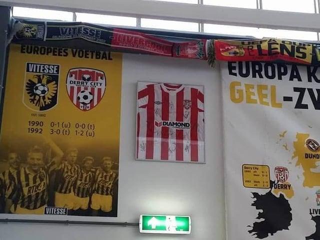 A Derry City shirt hangs proudly at Vitesse Arnhems social club next to the stadium.