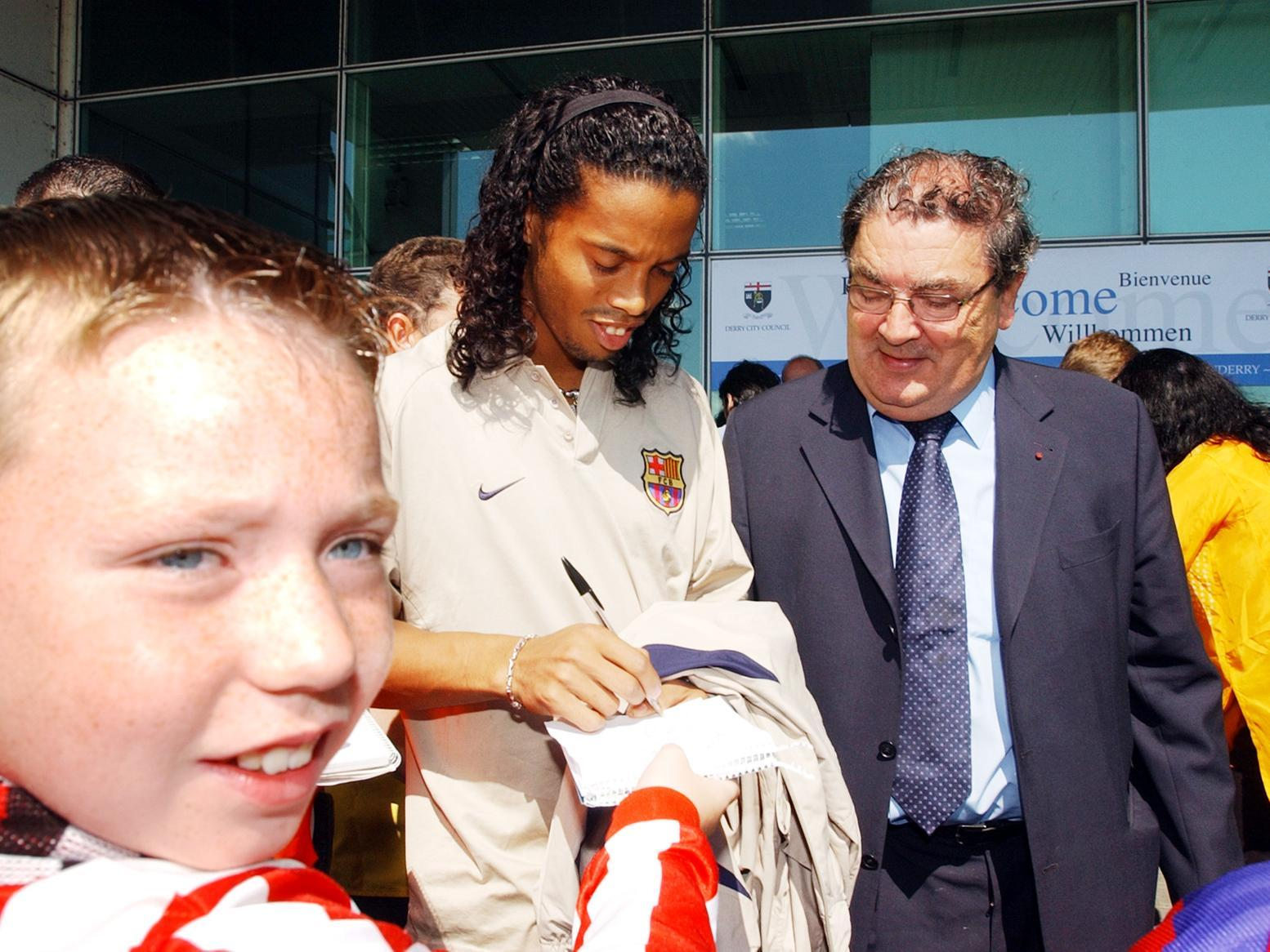 In Pictures: When John Hume brought Ronaldinho and star-studded Barcelona to Derry City