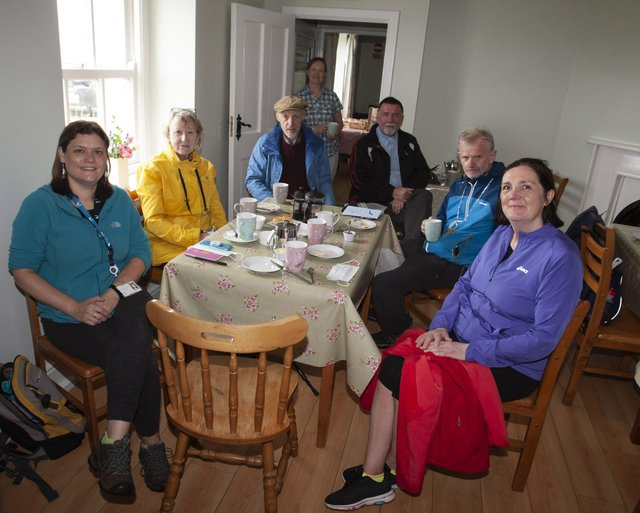 Enjoying a well-earned cup of tea before the final leg are from left, Sue Divin (DCSDC) , Anne Magowan, Maolcholaim Scott, Maureen Curran, Fr Oâ€TMHagan, Bishop Alan McGuckian, and Geraldine Oâ€TMConnor, The Churches Trust. (Photos: Jim McCafferty Photography)