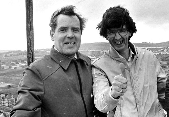 1980s... Liam McCandless (on left) with Derry Journal colleague Cecil McGill during a once-in-a-lifetime visit to the spire of St Eugene's Cathedral.