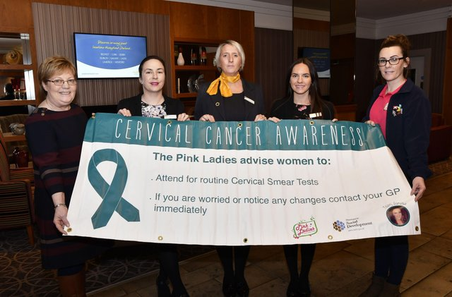 JANUARY 2018: Christina Glenn, far left, and Michelle McLaren from the Pink Ladies, far right, with Maldron Hotel staff, from left, Linda Folan, General Manager, Chiree Bowen, Front Office Manager, and Taleesha Clarke, Sales & Marketing , launching a previous awareness campaign.