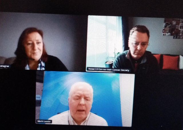 Professor Lawlor and Mr O'Connor in the online discussion, moderated by Margaret Gallagher, Pink Ladies Cancer Support Group.
