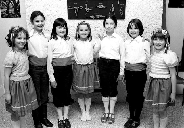 1980... St Eugene's Brigini and Guides, winners of the Primary European Folk Dance at Feis Doire Colmcille. From left are Oonagh Black, Nuala Canning, Deirdre Doherty, Joan Coyle, Catherine McGowan, Toni Harkin and Carron McKinney.