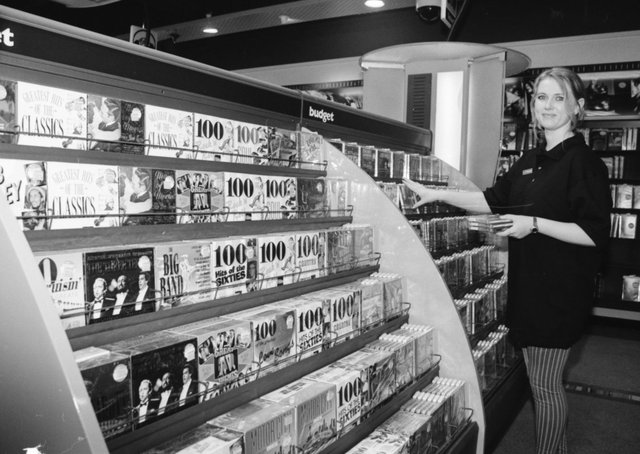 Fiona Faulkner, sales assistant, at the newly-opened Virgin Megastore in Foyleside Shopping Centre.