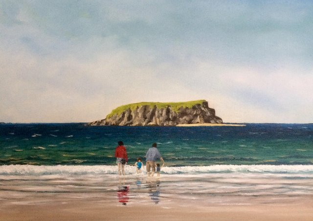 Detail from the painting Family Day Out by Lee Doherty.