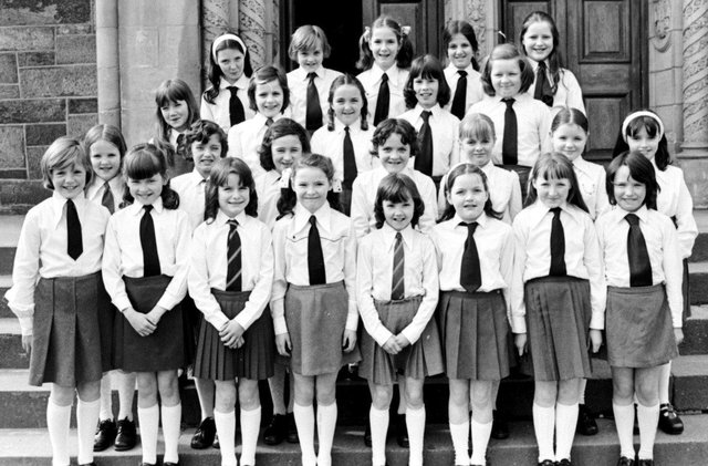 St Columb's Girls' Primary School, Long Tower, winners of the sacred music (primary schools) competition at the Derry Feis in 1976. [27-04-14 SML 7]