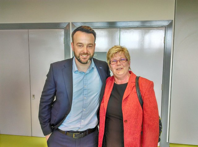 Elected: SDLP Councillor Angela Dobbins with party leader Colum Eastwood.