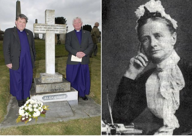 Left, then Dean William Morton and Canon John Merrick pictured back in 2012 during the annual Easter Pilgrimage to the grave of Cecil Frances Alexander in the City Cemetery by parishioners from St. Columb's Cathedral on Good Friday. And right, Cecil Frances Alexander.