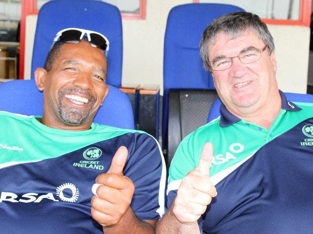 The late great Roy Torrens gives the thumbs up along with former Ireland coach Phil Simmons. Mr Torrens was named as winner of the 'Outstanding Contribution and Service to Irish Cricket' category - an award dedicated to the memory of the late John Wright. Picture courtesy Barry Chambers