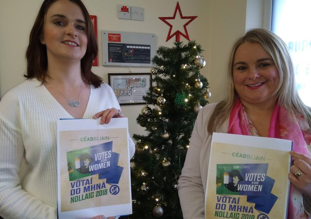 Sinn Féin's Caoimhe McKnight and Sandra Duffy launching one of the last ever editions of the Christmas postal service.