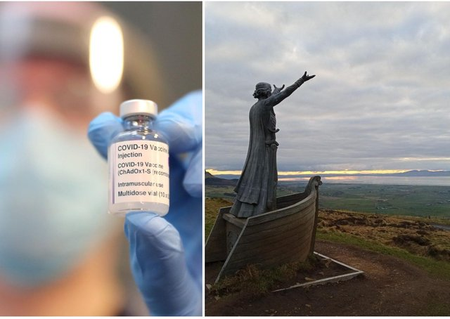 Vaccinations (file picture, PressEye) and the statue of the Celtic sea god Manannan MacLir  in County Derry looking out over the River Foyle towards County Donegal (Derry Journal).