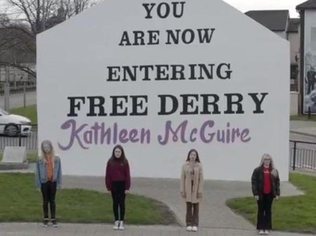 Amber Archibald, Katie Nash, Ava Whoriskey and Clara Hutton at Free Derry corner.