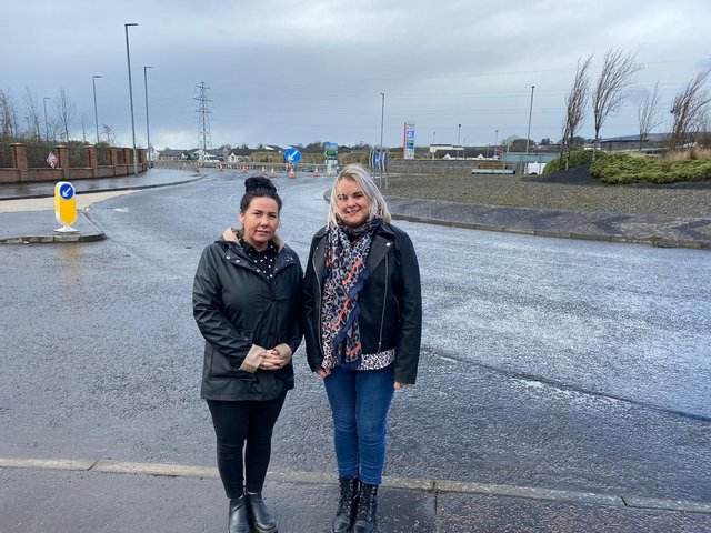 Sinn Fein Councillor Sandra Duffy and Nicola Mullan, Manager of Skeoge Support Hub, close to where a new safety crossing is being installed on the Skeoge Link Road.