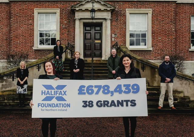 Halifax Foundation for Northern Ireland is committing £678,439 funding to 38 charities providing vital services for some of the most disadvantaged people in the community. Pictured are Executive Director Brenda McMullan and Chair Paula Leathem (front row from left) with the team from the Foundation (second row) Caroline Fulton, Niall Corru, with (third row) Cara Dixon, Richard Rogers and Joanne Byrne (back)