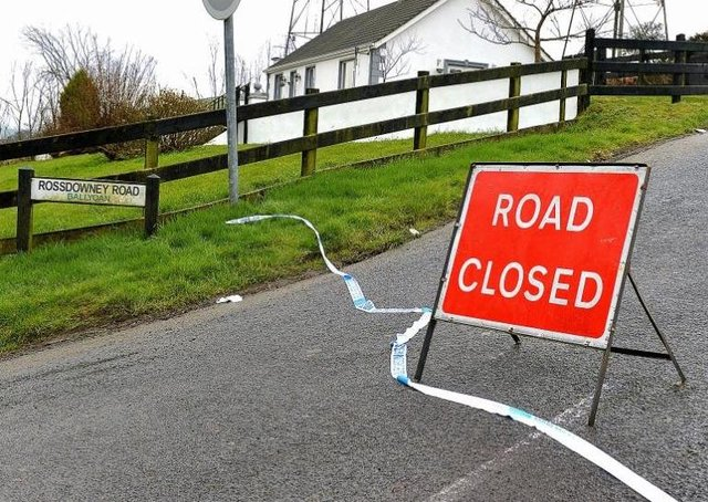 The Rossdowney Road was closed due to a fatal house fire on Sunday.