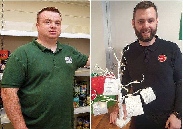 Left, James McMenamin, manager, Foyle Foodbank, and right,  Patrick Kennedy, manager and owner of Wheelers.