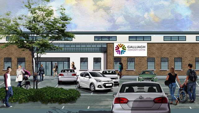 An artistic impression of how the new community hub at Galliagh will look when completed.