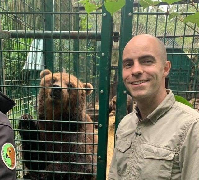 Killian McLaughlin with one of the bears at Wild Ireland.