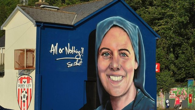 Mural of Sister Clare Crockett in the Brandywell.