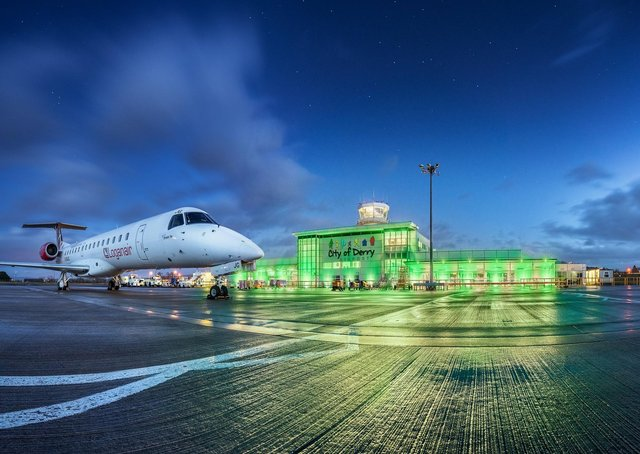 City of Derry Airport floodlit in green to celebrate St Patrick's Day. (Photo by Patryk Sadowski)