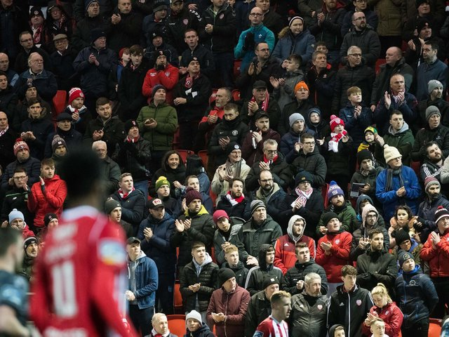 Derry City supporters pictured in the Mark Farren Stand.