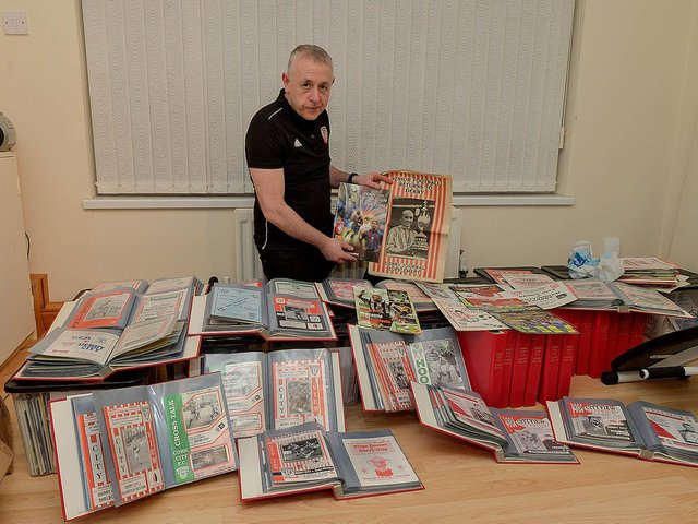 Derry City's club historian Brian Dunleavy with his impressive collection of match programmes dating back from the club's first ever League of Ireland game in 1985 right through to the final match fans were permitted into the Brandywell last year.