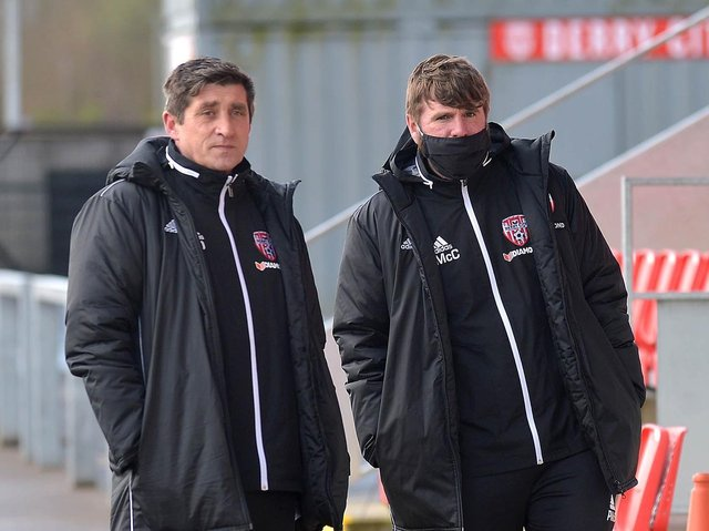 Derry City manager, Declan Devine and Technical Director, Paddy McCourt arrive at training at Brandywell.