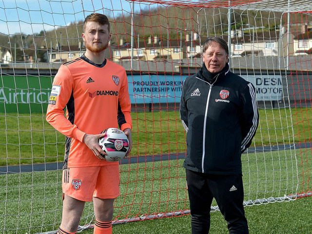 Derry City goalkeeper Nathan Gartside and goalkeeping coach Declan McIntyre. Picture courtesy George Sweeney