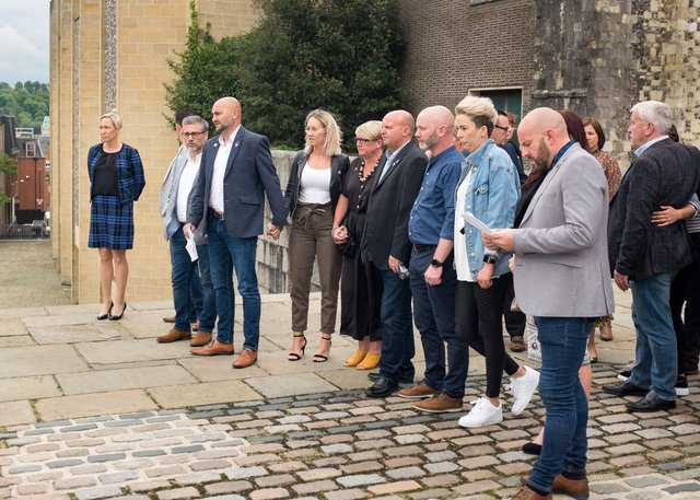 Detective Inspector Gemma Hunter, Greg Llewellyn, Dean Radford,  Lee Smith, Dion Raitt, Bill Seymour atop the courthouse steps at Winchester Crown Court after the sentencing of Bob Higgins