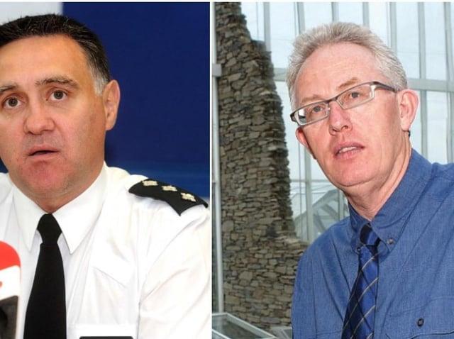 Chief Superintendent Darrin Jones, on left, and Conal McFeely, Creggan Enterprises.