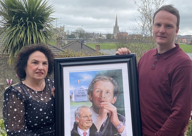 Bernie and Fiachra McGuinness, wife and son of the late Martin McGuinness, with the new portrait.