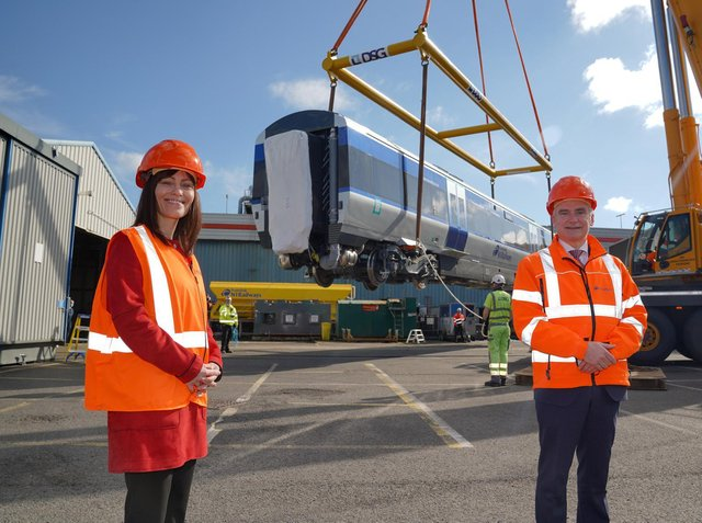 Infrastructure Minister Nichola Mallon and Translink Group Chief Executive Chris Conway