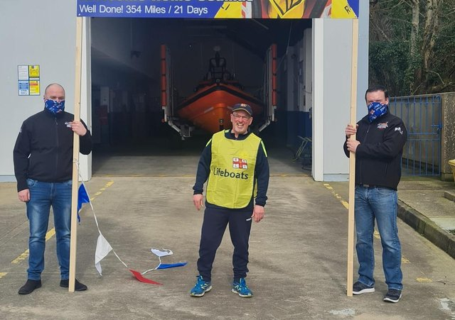 Seamus pictured at the finish line - the Lough Swilly RNLI headquarters at Ned's Point.