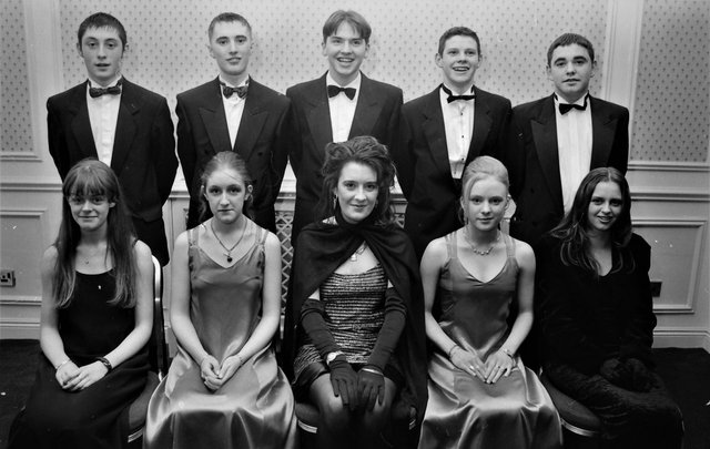 Seated are Grainne O'Doherty, Aisling O'Doherty, Aisling Kelly, Deboragh Chambers and Leisa Smith. Standing are Seamus Crossan, Damien O'Kane, Noel McLaughlin, Austin Kelly and Sean Browne.
