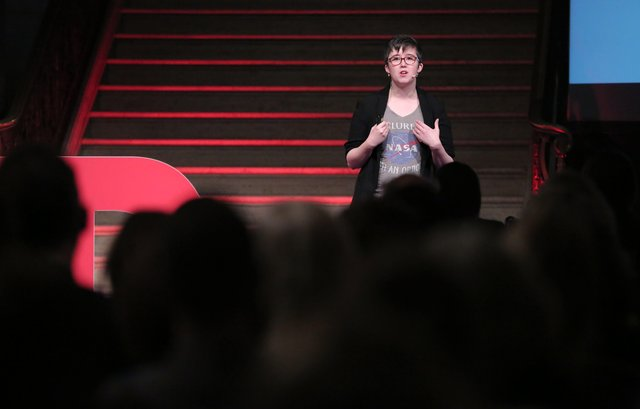 Press Eye - Belfast - Northern Ireland  - 19th April 2019 - File picture of Lyra McKee, Freelance journalist, writer, editor pictured at TEDxStormont Women 2017 in the Great Hall, Parliament Buildings in  2nd November  2017Photo by Kelvin Boyes / Press Eye.