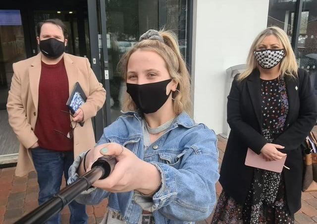 Derry Detox facility campaigner Tamzin White with Foyle MLA Karen Mullan and Councillor Emmet Doyle.