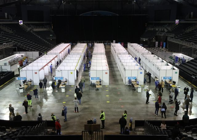 The Covid-19 vaccination centre in the SSE Arena, Belfast.