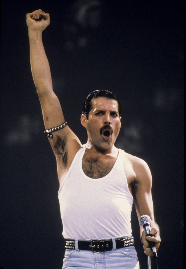 Programme Name: A Life in Ten Pictures - TX: n/a - Episode: In Ten Pictures - Freddie Mercury (No. n/a) - Picture Shows: -Live Aid, London – 1985 Freddie Mercury - (C) Anwar Hussein - Photographer: Anwar Hussein