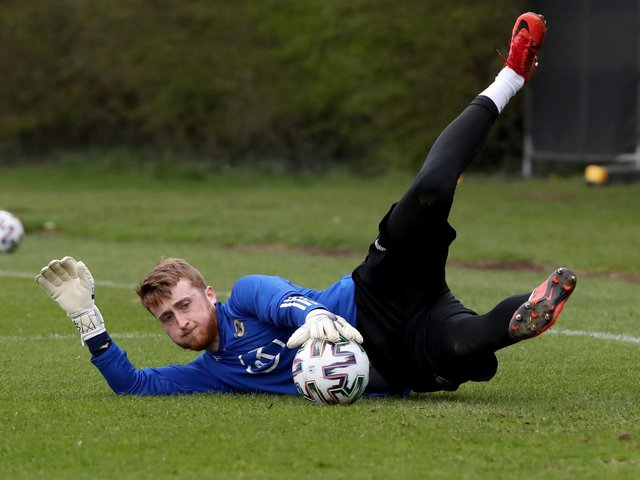 Northern Ireland goalkeeper Nathan Gartside in action during last week's training session, at Stormont. Picture by William Cherry/Presseye