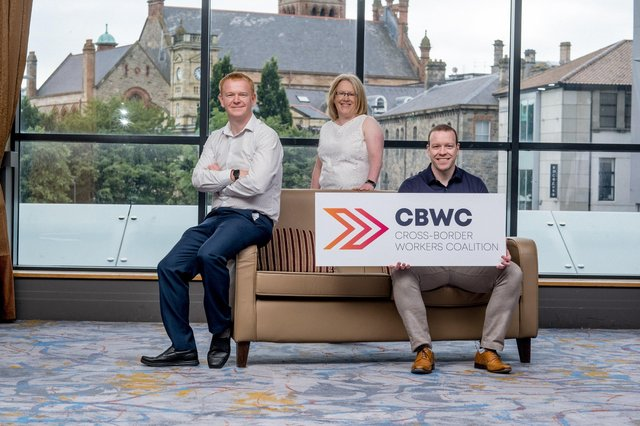 AUGUST 2020: From Left to Right - Launching the Cross-Border Workers Coalition set up to tackle remote working tax rules for cross border workers is Paul Quinn, Sinead Logue and Conor Dowds.
