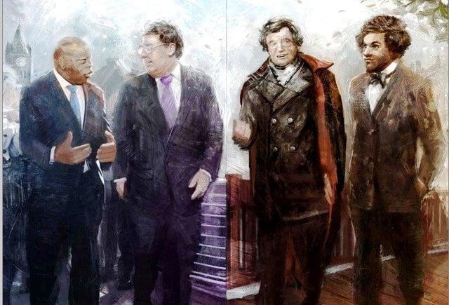 'LIBERATORS', by LA-based artist Nikkolas Smith, features John Lewis, John Hume,  Daniel O'Connell and Frederick Douglass.