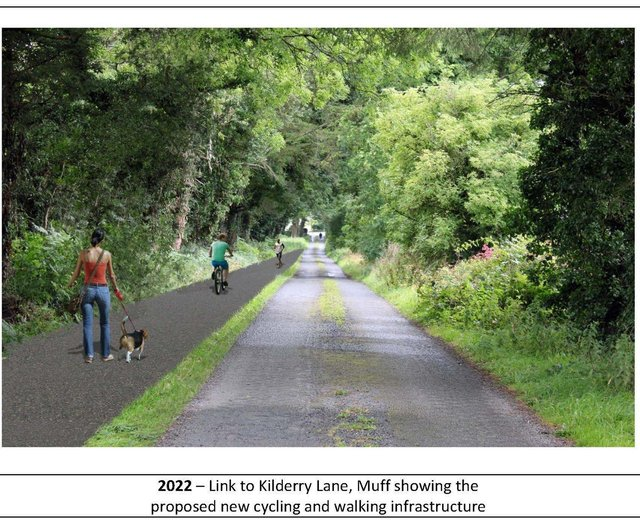 Link to Kilderry Lane, Muff, showing the proposed new cycling and walking infrastructure.