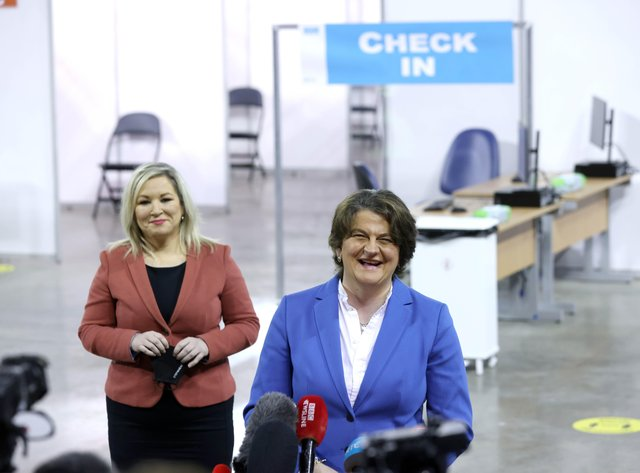 PACEMAKER, BELFAST, 29/3/2021: First Minister Arlene Foster and Deputy First Minister Michelle O'Neill,  at the opening of the new Northern Ireland mass vaccination centre at the SSE Arena, in Belfast this morning.PICTURE BY STEPHEN DAVISON