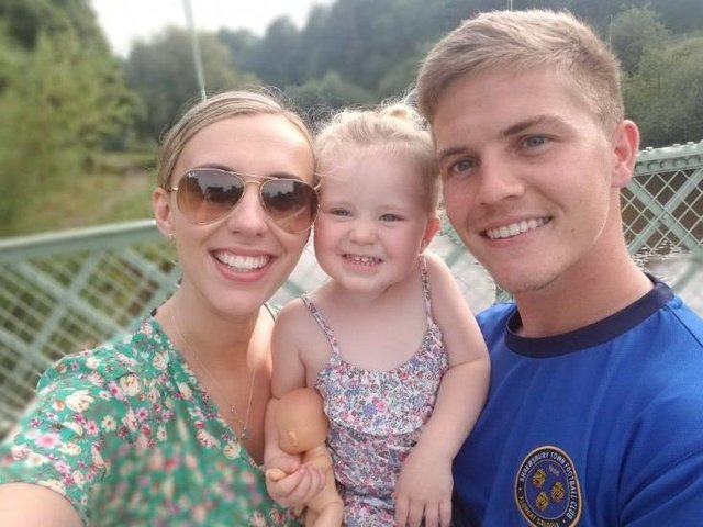 Josh Daniels pictured with his fiancée Hannah and daughter Zahra.