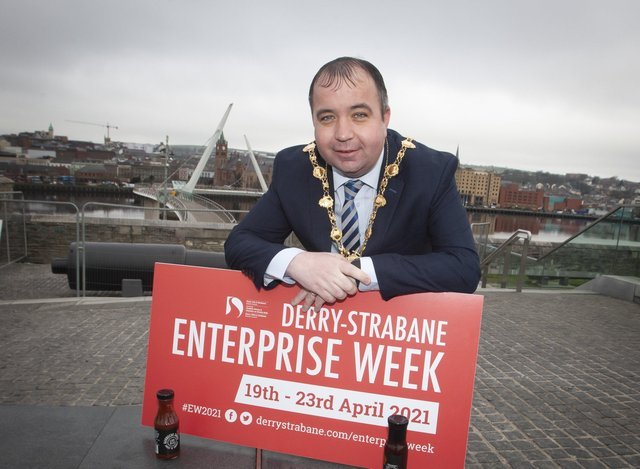 ENTERPRISE WEEK. . . . .The Mayor of Derry City and Strabane District Council, Brian Tierney pictured at Ebrington on Friday morning for the launch of the †̃Level Up Initiative (part of this yearâ€TMs Enterprise Week 2021). This yearâ€TMs Derry-Strabane Enterprise Week will run from 19-23 April. (Photo: Jim McCafferty Photography)