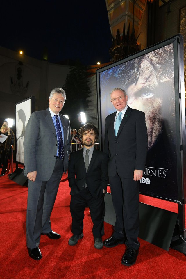 2013: The then First Minister Peter Robinson and deputy First Minister Martin McGuinness at a launch of 'Game of Thrones' in Hollywood Boulevard with actor Peter Dinklage who played Tyrion Lannister in Game of Thrones.......Picture by Kelvin Boyes / Press Eye.
