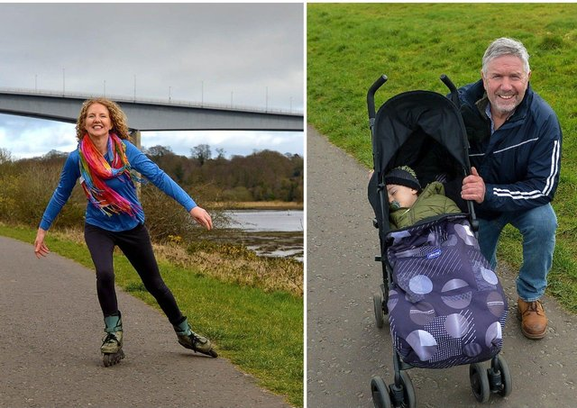 LEFT: Joanna O'Donnell exercises on skates in Bay Road Park recently. DER2112GS – 012RIGHT: George Cregan's grandson Jacob has a nap during a recent visit to Bay Road Park. DER2112GS – 010