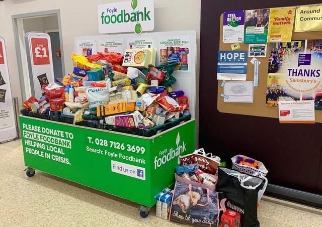 A massive collection of foodbank donations in Sainsbury's.